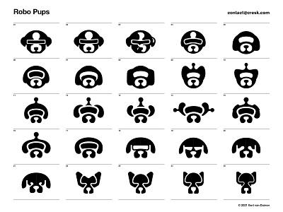Robo Pups robot symbol negative space dog animal custom logo design symbol designer branding identity mark identity designer brandmark logo designer logo design logo
