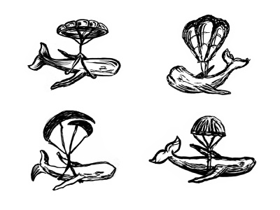 Flying Whale balloon process work in progress sketches flying whale whale custom logo design symbol designer branding identity identity designer mark brandmark logo designer logo design logo
