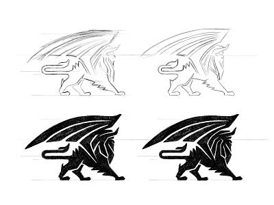 Manticore sketches brandidentity beast mythical creature manticore process sketches custom logo design symbol designer branding identity identity designer mark brandmark logo designer logo design logo