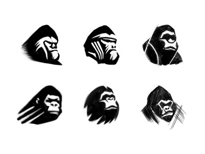 Ape sketches 2 animal logo case study process sketches monkey ape animal custom logo design symbol designer branding identity identity designer mark brandmark logo designer logo design logo