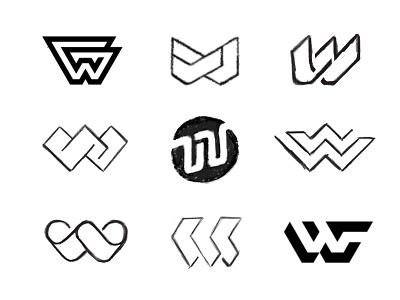 W sketches work in progress process sketches custom logo design letter monogram lettering typography branding identity identity designer mark brandmark logo designer logo design logo