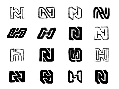 NH Sketches h n monogram letter lettering type typography sketches process brand identity custom logo design branding design identity identity designer mark brandmark logo designer logo design logo