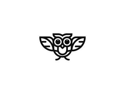 Owly owl little tiny icon illustration monoline logo