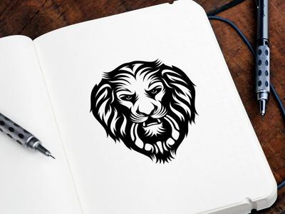 Lion Doorknocker logo design doorknocker lion