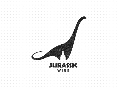 Jurassic Wine Logo nessie brachiosaurus dinosaur ancient jurassic wine logo design brachiosaurus altithorax sauropods brachiosauridae animal logo designer identity designer icon designer symbol designer iconographer iconography typography logo illustration