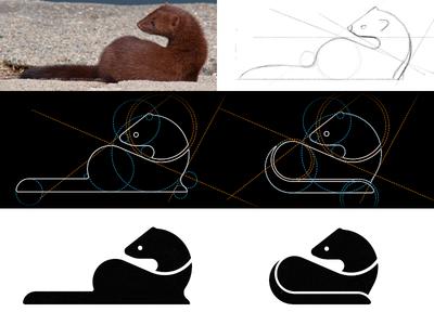 Making of a Mink logo construction logo grids geometry brandmark icon otter ferret mink identity branding logodesigner