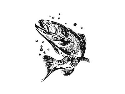 Bixbi - Rawbble Food voor Dogs 01 woodcut branding inked details fish packaging animal illustration
