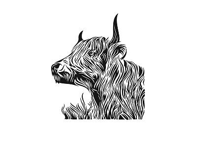 Bixbi - Rawbble Food voor Dogs 03 woodcut branding inked details beef packaging animal illustration