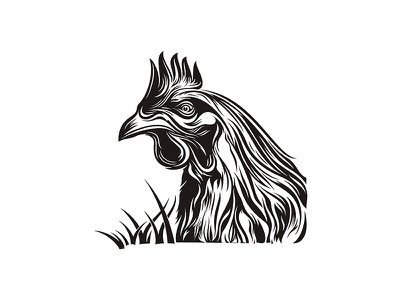 Bixbi - Rawbble Food voor Dogs 04 woodcut branding inked details chicken packaging animal illustration