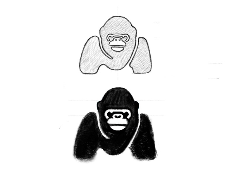 Gorilla + M - rough sketch monogram m animal sketch gorilla mark progress identity branding logo