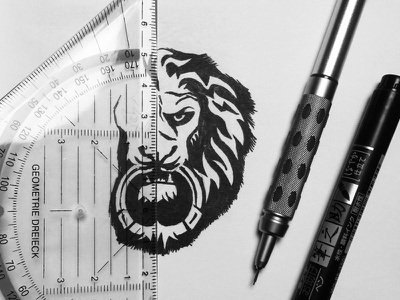 Doorknocker sketch. ink fine liner pencil process sketch logo mark brandmark doorknocker lion animal logo collection