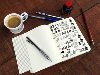 Sails & Skills sketches sketchbook process sketches identity branding logo