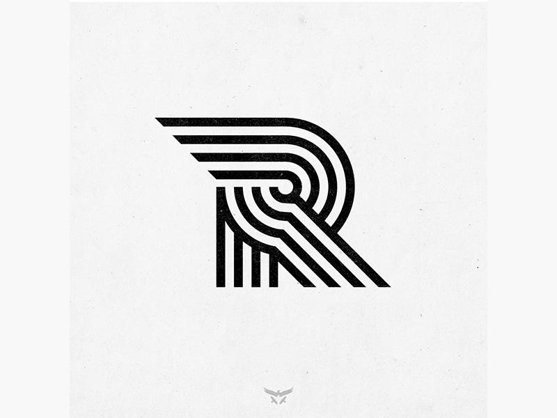 RRRR geometric r monogram lettering monoline typography brand mark identity branding logo