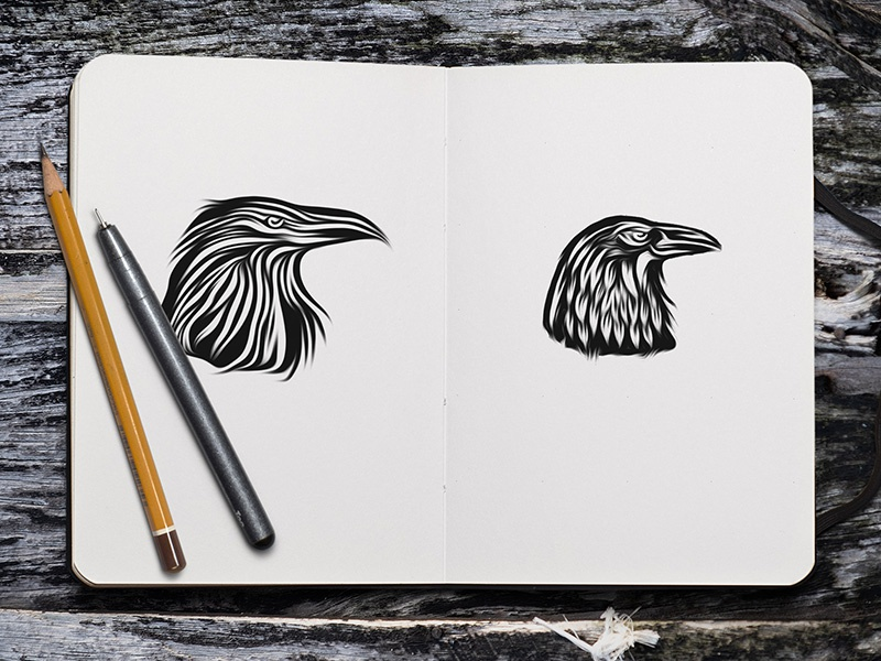 WIP - Raven Drafts monoline logo collection raven animal bird graphic illustration logo