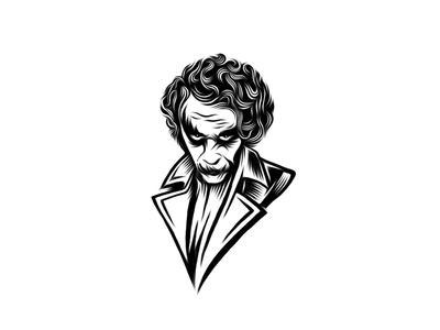 Joker Guy - WIP villain graphic illustration brand mark joker portrait sketch process cresk logo
