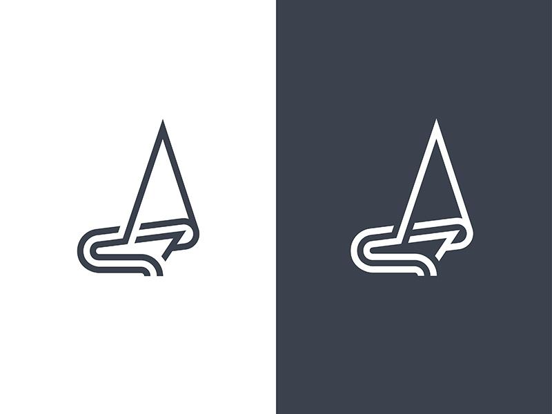 Sails & Skills mark identity brand mark graphic minimalism geometric ship mono line cresk logo
