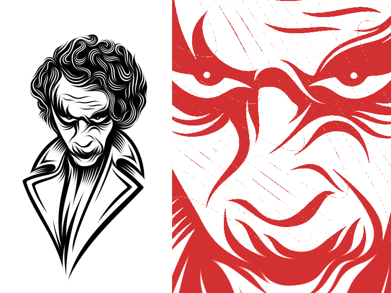 Joker Guy brand mark portrait face joker dark knight logo illustration villain joker guy