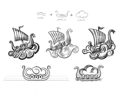 Solid Clouds - sketches icon cresk process sketches brandmark mark logo