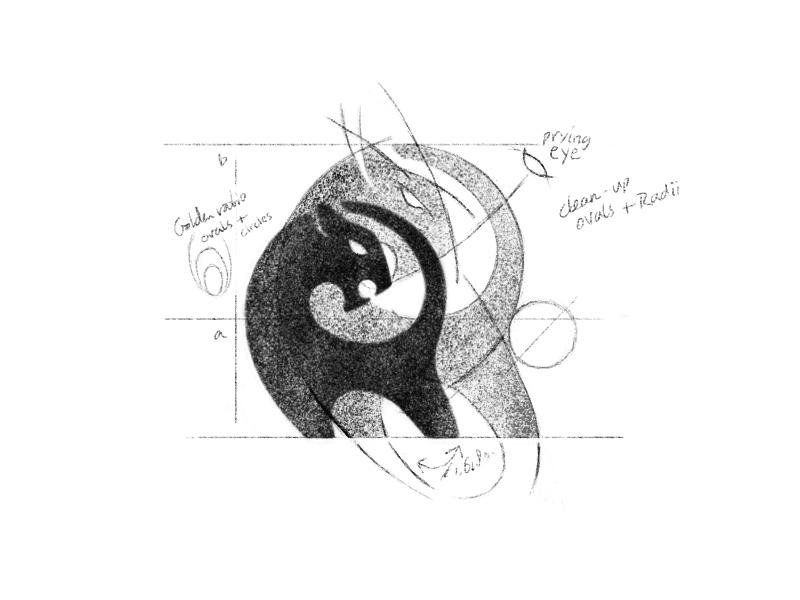 Rough Logo Design Sketch symbol designer brandmark identity animal golden ratio grids process logo logo designer logo design sketch