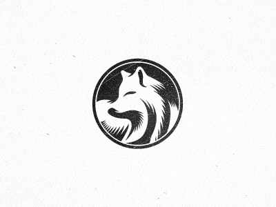 Foxy fox logo nature mascot vector illustration mark animal mammal dire wolf foxhound design linocut woodcut style