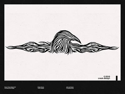 Raven Blackwork illustration tattoo design tattoo raven blackwork