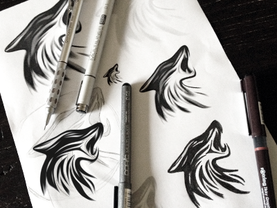 Wolf - Working Process wolf process logo design mark growling barking whining howling linocut woodcut style
