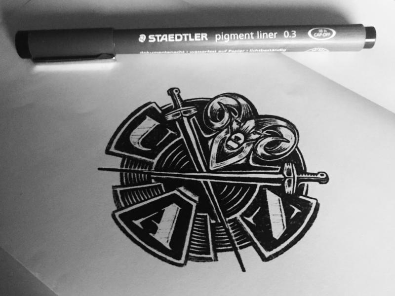 Work in Progress - crest process sketch lockup emblem crest design illustration animal symbol designer identity designer identity brandmark logo designer logo design mark logo