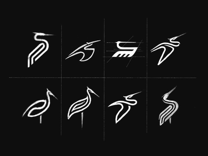 White Stork Logo Design Sketches logo sketches logo designer stork logo design