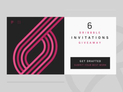 6x Dribbble Invitations Giveaway