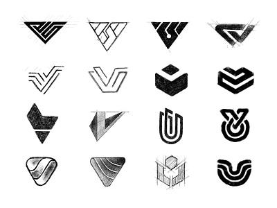V Sketches typography logotype process identity branding identity designer brandmark mark logo designer logo design logo