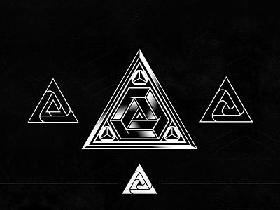 Aftershock Concept Logo vortex edm logo symbol geometry icon mark triangular aftershock idt