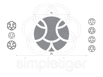 Logo Design Construction for SimpleTiger simple tiger guides guidelines divine lines mark brandmark illustration typography logo design construction