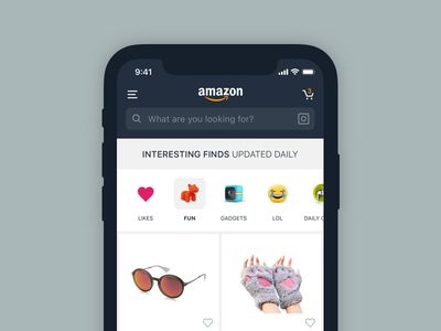 Amazon Interesting Finds - Concept shot ios iphone x concept explore interesting finds amazon