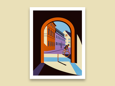 City Print of Weimar, Germany adobe illustrator architecture vector illustration minimalist light and shadows illustration
