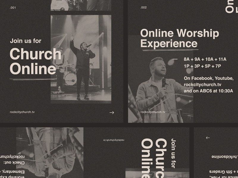 Join Us Online — Rock City Church design branding sermon series carousel times experience ohio columbus church city rock worship