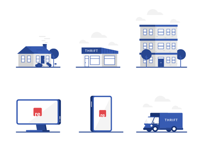 Resupply Illustrations apartment store house truck illustration icons thrift