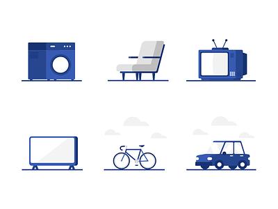Resupply Illustrations Set 2 television bike car washing machine chair tv