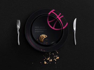 Hello Dribbble feed-your-imagination-everyday cake dribble black-plate first-shot debut invitation thanks