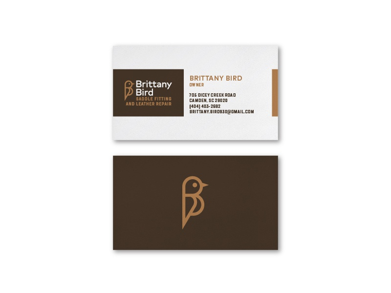 Brittany Bird Business Card horse equestrian leather saddle business card bird