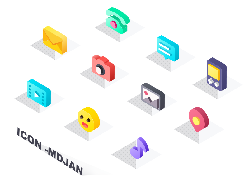 Icons Isometric phone map music emoji ui isometric icon