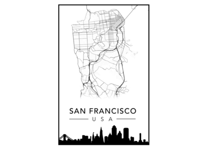 San Francisco City Poster map poster city