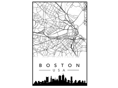 Boston City Poster map poster city