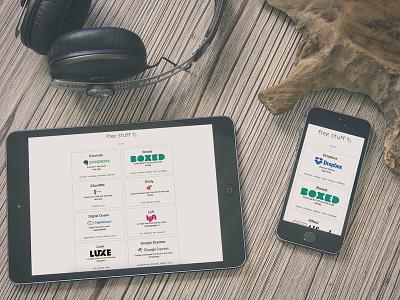 Get Free Stuff Website  showcase deals coupons minimal web web design