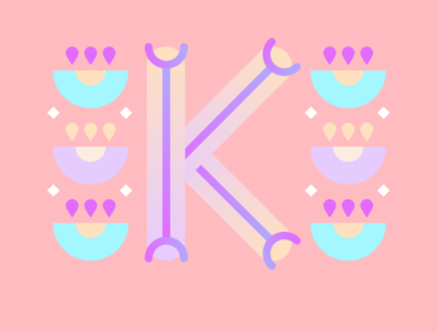 36 Days of Type - K gradients vectors pastels flowers typography design typography illustration graphic design design 36 days of type