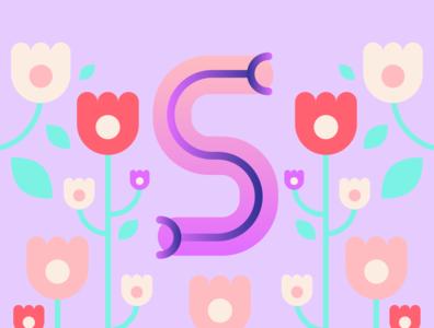 36 Days of Type - S gradients vectors pastels flowers typography design typography illustration design graphic design 36 days of type