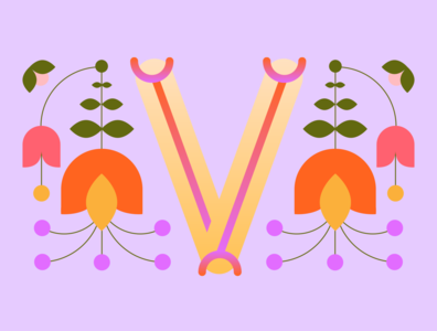 36 Days of Type - V gradients vectors pastels flowers typography design typography illustration graphic design design 36 days of type