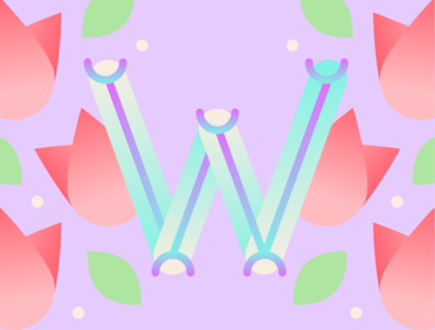 36 Days of Type - W gradients vectors pastels flowers typography design typography illustration graphic design design 36 days of type