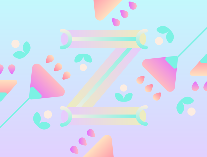 36 Days of Type - Z gradients vectors pastels flowers typography design typography illustration graphic design design 36 days of type