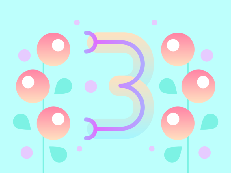 36 Days of Type - 3 numbers gradients vectors pastels flowers typography design typography illustration graphic design design 36 days of type