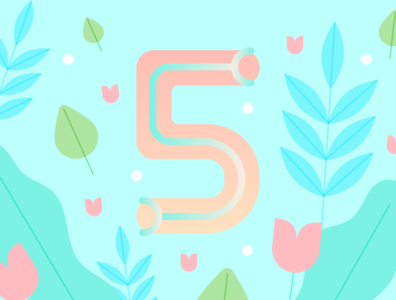 36 Days of Type - 5 numbers gradients vectors pastels flowers typography design typography illustration graphic design design 36 days of type